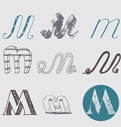 Original letters m set isolated on light gray vector