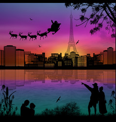 people at night in paris with santa claus and vector image vector image