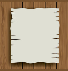 Piece of blank paper over wood background vector