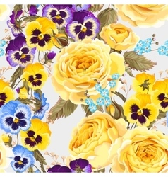 Roses and pansies seamless background vector image