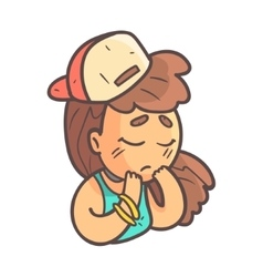 Sad Girl In Cap Choker And Blue Top Hand Drawn vector image vector image