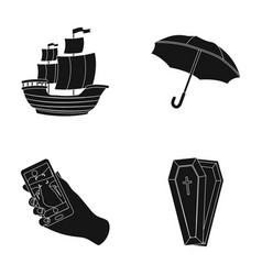 Sailboat umbrella and other web icon in black vector