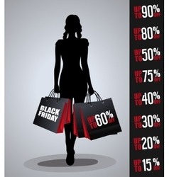 Sales poster with woman silhouette vector image vector image