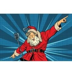 Santa claus superstar singer on stage vector