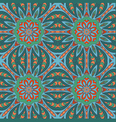 seamless doodle drawing colorful floral ornament vector image vector image