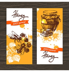 Set of honey banners with hand drawn sketch vector image