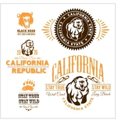 Set of stylish retro badges with bears - vector