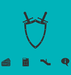 Shield and sword icon flat vector
