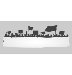 Silhouette of cheering or protesting crowd vector