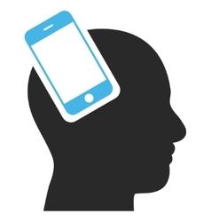 Smartphone head integration eps icon vector