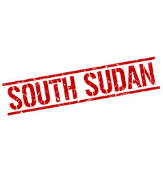 South sudan red square stamp vector