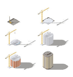 stages of construction of a high-rise building vector image