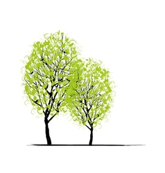 Two spring trees for your design vector