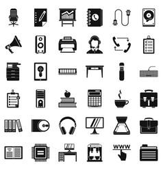 Work folder icons set simple style vector