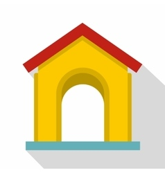 Yellow toy house icon flat style vector