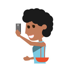 Young woman with smartphone cartoon vector