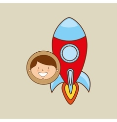 Boy lovely smiling rocket graphic vector