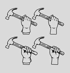 hand holding hammer line art vector image