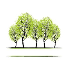 Green grove with trees for your design vector image
