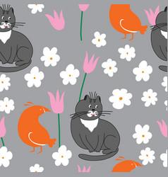 grey cat and orange bird with flowers vector image