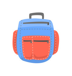Red and blue backpack rucksack for school or vector