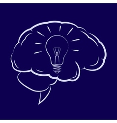 Symbol of the light bulb inside human brain vector