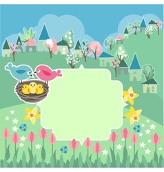 Meadow with spring flowers and birds vector