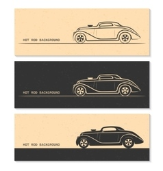 Set of vintage retro hot rod car silhouettes vector