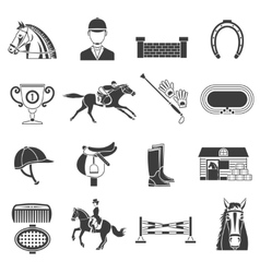 Black icons set with horse equipment vector