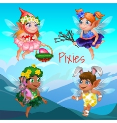 Set fairies with different accessories and objects vector