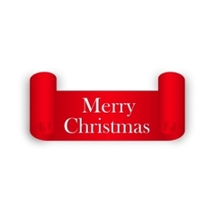 merry christmas red ribbon vector image