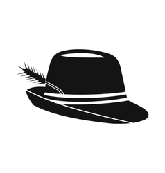 Hat with a feather icon simple style vector