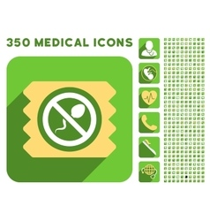 Spermicide condom icon and medical longshadow icon vector
