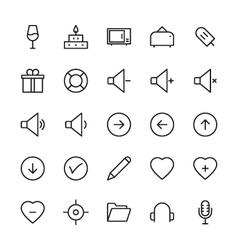 Web and user interface outline icons 6 vector