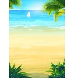 Summer beach and sea boat vector