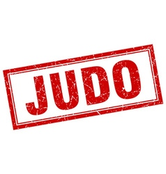 Judo red grunge square stamp on white vector