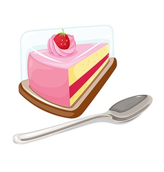 A slice of cake and a tablespoon vector image vector image