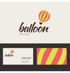 Air balloon logo template with business card vector image