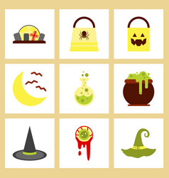 Assembly flat icons halloween bag potion bottle vector
