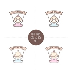 Babies with i love mommy and daddy ribbons vector