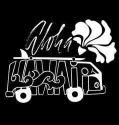 Black and white aloha hawaii surf print handdrawn vector