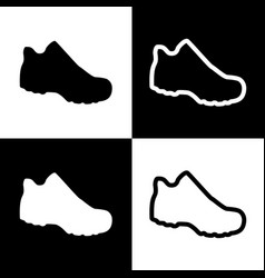 Boot sign black and white icons and line vector