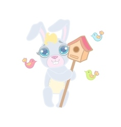 Bunny with the bird house vector