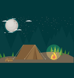 camping in forest at night flat design style vector image vector image