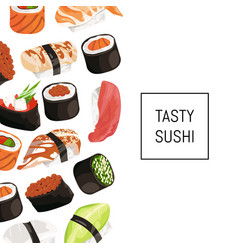 cartoon sushi types background with place vector image vector image