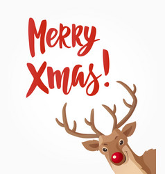 christmas card with merry xmas text and head of vector image