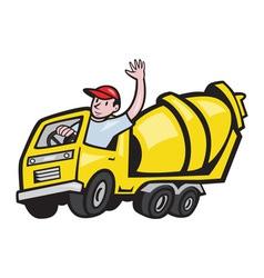 Construction worker driver cement mixer truck vector