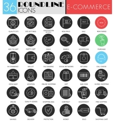 e-commerce circle white black icon set vector image vector image