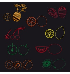 fruits and half fruits simple outline icons eps10 vector image vector image
