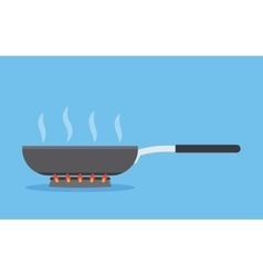frying pan on fire vector image vector image
